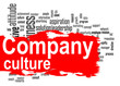 Leinwanddruck Bild - Company culture word cloud with red banner