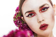 Gorgeous girl portrait wearing makeup and flowers