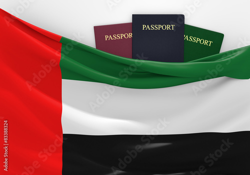 Fotografie, Obraz  Travel and tourism in United Arab Emirates, with passports