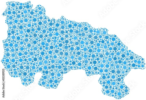 Autonomous Community of La Rioja in a mosaic of blue bubbles
