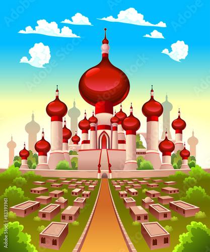 Poster Chambre d enfant Landscape with Arabian castle