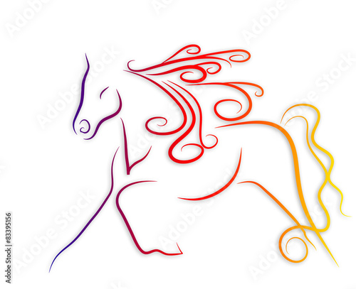 Fotobehang Draw Elegant horse