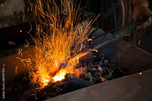Fotografie, Obraz  Il Fuoco nella Forgia del Fabbro