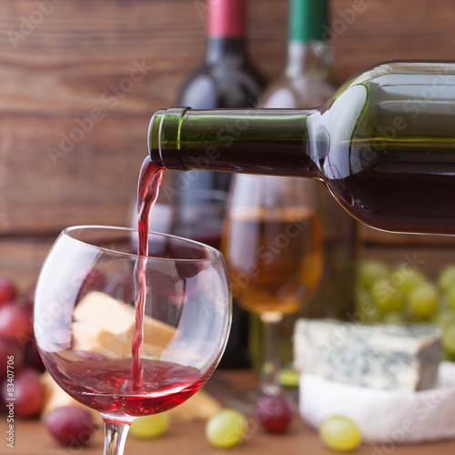 Red wine pouring into glass, close-up. Canvas Print