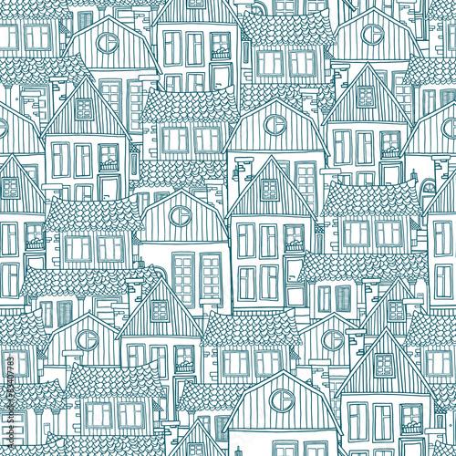 bezszwowy-wzor-z-recznie-rysowane-domami-wektor