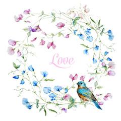 Fototapeta Boho Watercolor floral frame