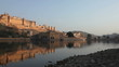 View at Amber Fort and reflection in the evening