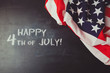 4th of july background with chalkboard and USA flag