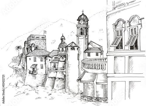 Foto auf AluDibond Gezeichnet Straßenkaffee ink pen graphic Camogli