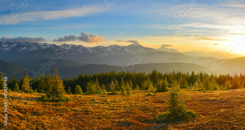 Deurstickers Bergen Mountain sunset with meadow and forest