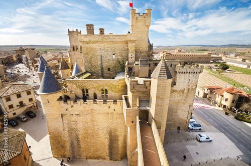 Scenic view of the famous Olite castle, Navarra, Spain.