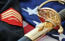 Symbols Of A Marine. Sabre, Flag, Uniform.