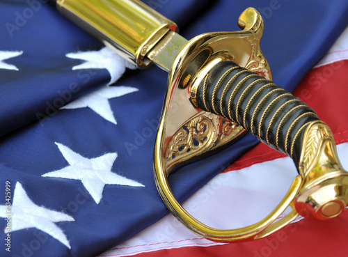 Sabre and American flag - symbols of America's military.