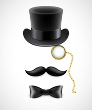 Vintage Silhouette Of Top Hat,...