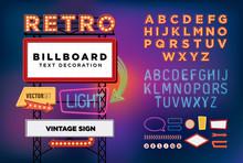 Vector Set Retro Neon Sign, Vi...