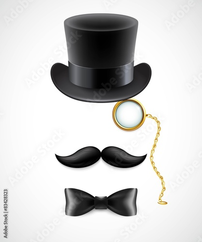 Fotografie, Obraz Vintage silhouette of top hat, mustaches, monocle and a bow tie