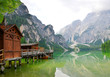 Boathouse at the Lago di Braies in Dolomiti Mountains - Italy