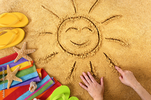 Summer beach smiling sun Wallpaper Mural