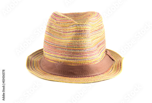 Colored straw hat on a white background - Buy this stock photo and ... d346b65d8565
