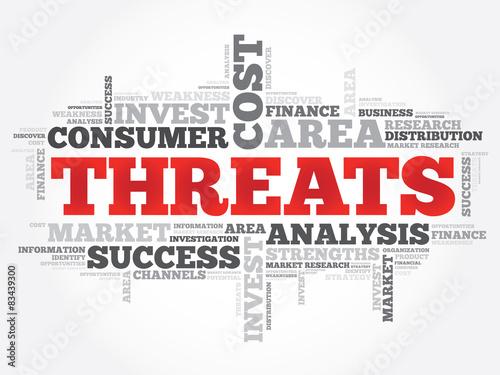 Fotografía  Threats word cloud, business concept
