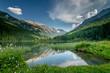idyllische Sommerlandschaft mit Bergsee und Alpen