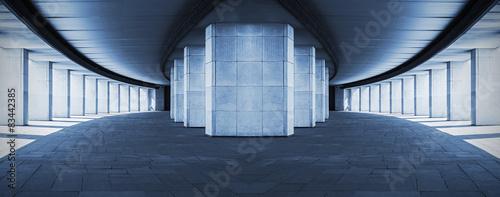 long corridor with columns, surreal design