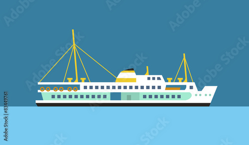 Fotomural Passenger ferry ship flat vector icon.