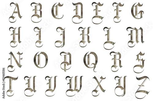 Fotografie, Obraz  Středověký gotický kolekce abeceda