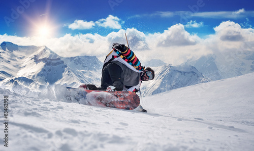 Photo  Extreme snowboarding man
