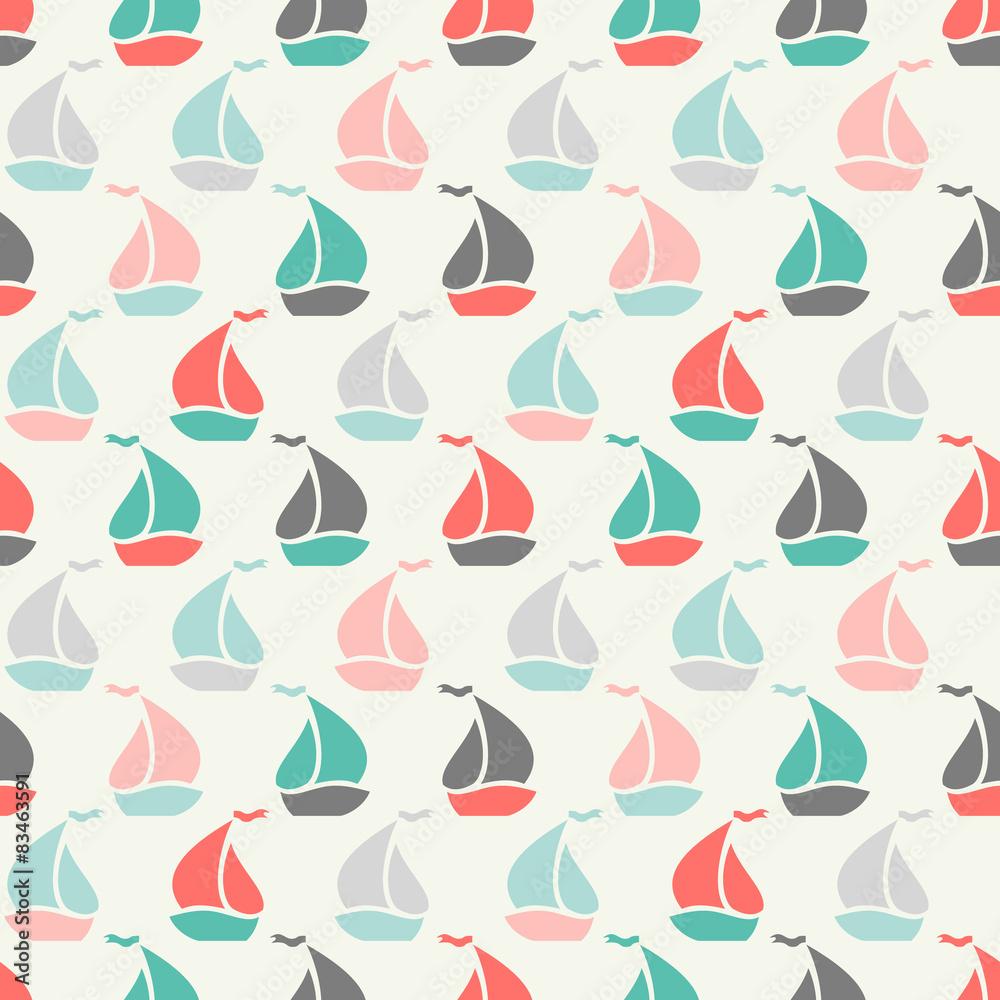 Sailboat shape seamless pattern. Vector illustration for marine