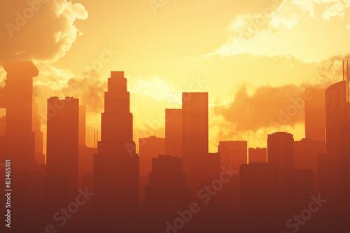 Huge Smoggy Metropolis in the Sunset Sunrise 3D artwork Fototapet