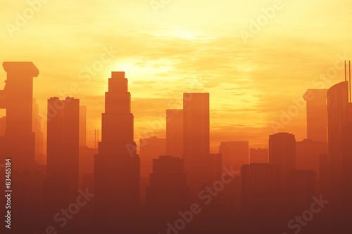 Fotografía Huge Smoggy Metropolis in the Sunset Sunrise 3D artwork