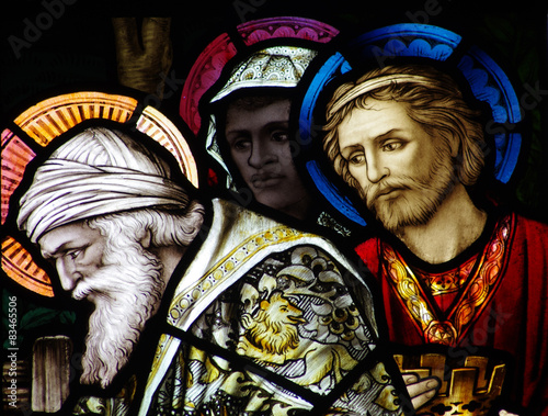 The three kings visiting baby Jesus in stained glass Fototapeta