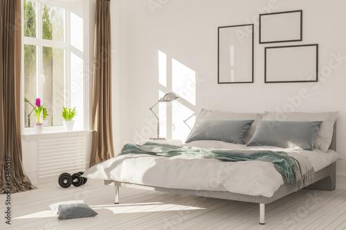 Fotografia  Schlafzimmer mit Bett und Fenster