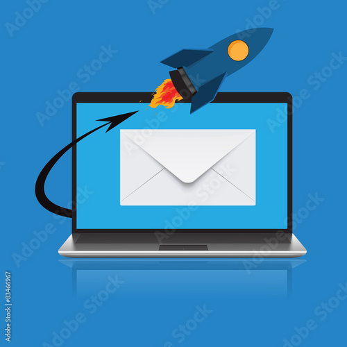 Fotografie, Obraz  email marketing concep in flat design, vector, illustration