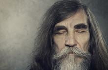 Senior Old Man Eyes Closed, Elderly People Portrait, Aged Face C