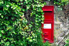 Red Post Box Mounted On A Old Crumbling Wall. Overgrown Plants