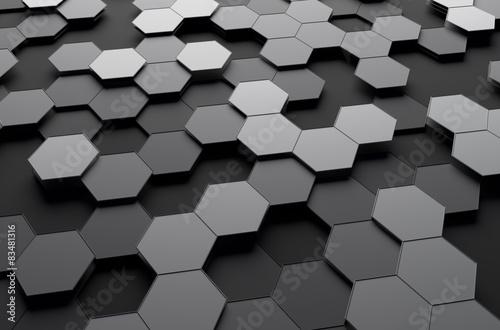 abstrakcjonistyczny-3d-rendering-futurystyczna-powierzchnia-z-szesciokatami