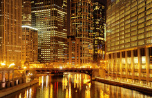 Chicago Downtown And Chicago River At Night