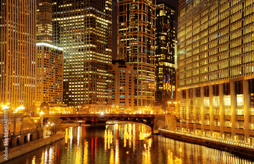 Poster Chicago Chicago downtown and Chicago River at night