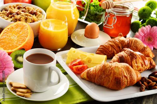 Fototapeta Composition with breakfast on the table. Balnced diet. obraz