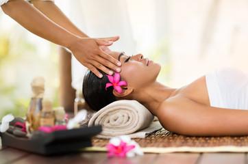 female getting recreation massage of head
