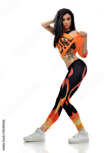 Young Pretty Modern Slim Hip Hop Style Teenage Girl Dancer With Buy This Stock Photo And Explore Similar Images At Adobe Stock Adobe Stock