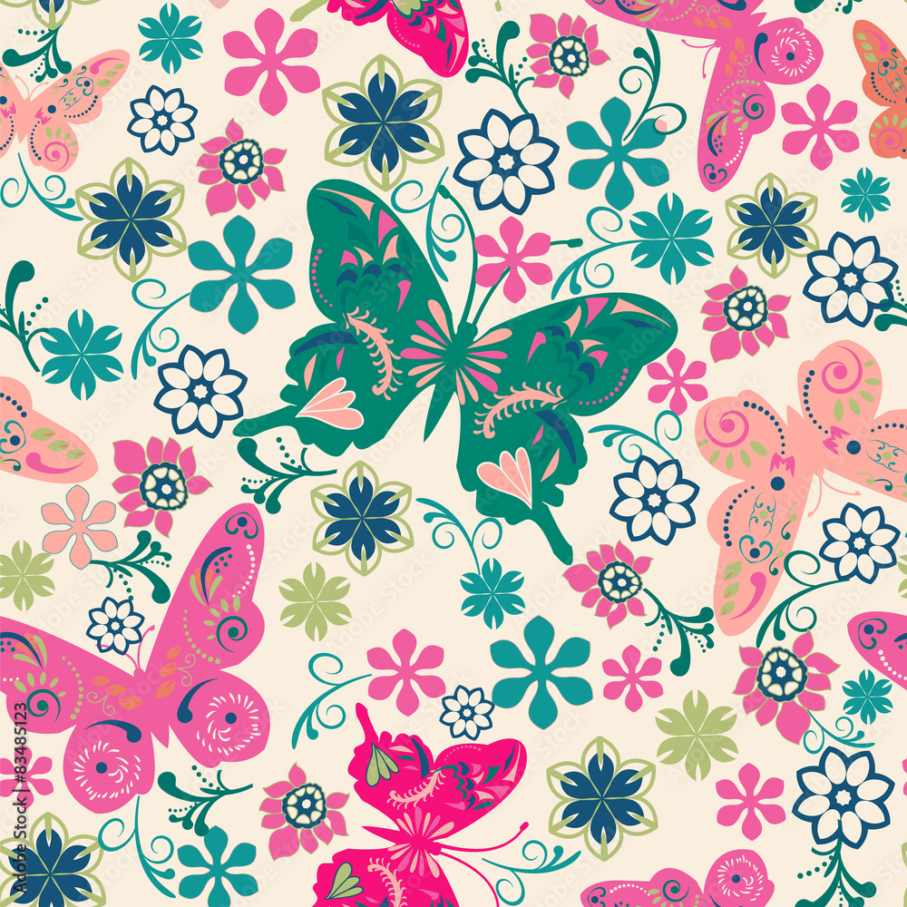 Fototapeta pattern of butterflies and flowers- illustration