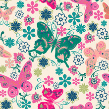 Pattern Of Butterflies And Flowers- Illustration