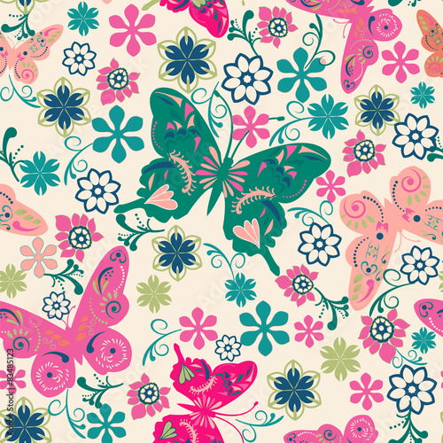 Fototapety, obrazy: pattern of butterflies and flowers- illustration