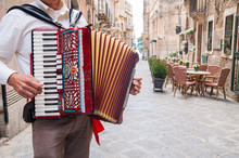 Accordion Musician Playing On ...