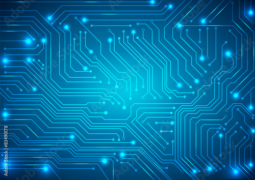Fotografiet  abstract vector background with high tech circuit board