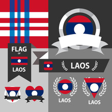 Set Of Laos Flag, Emblem And P...