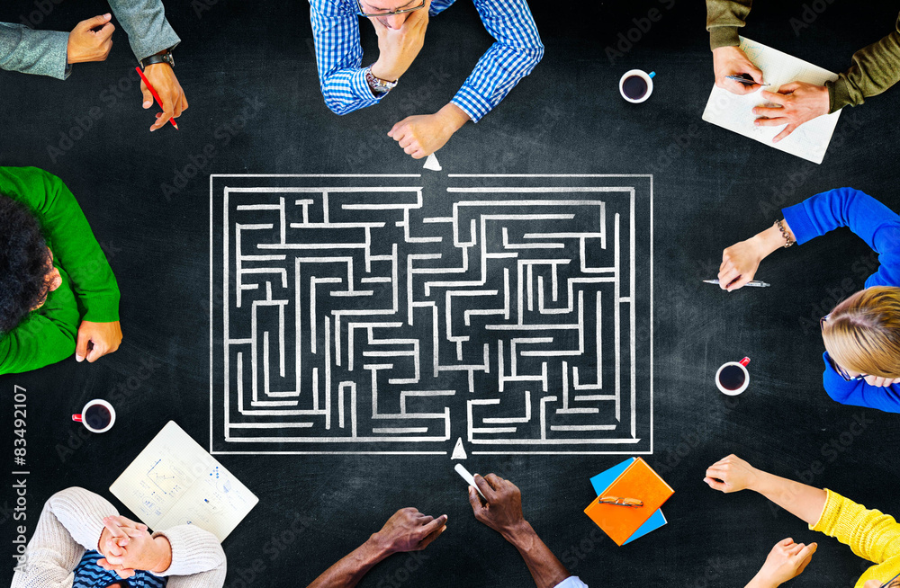 Fototapeta Maze Strategy Success Solution Determination Direction Concept